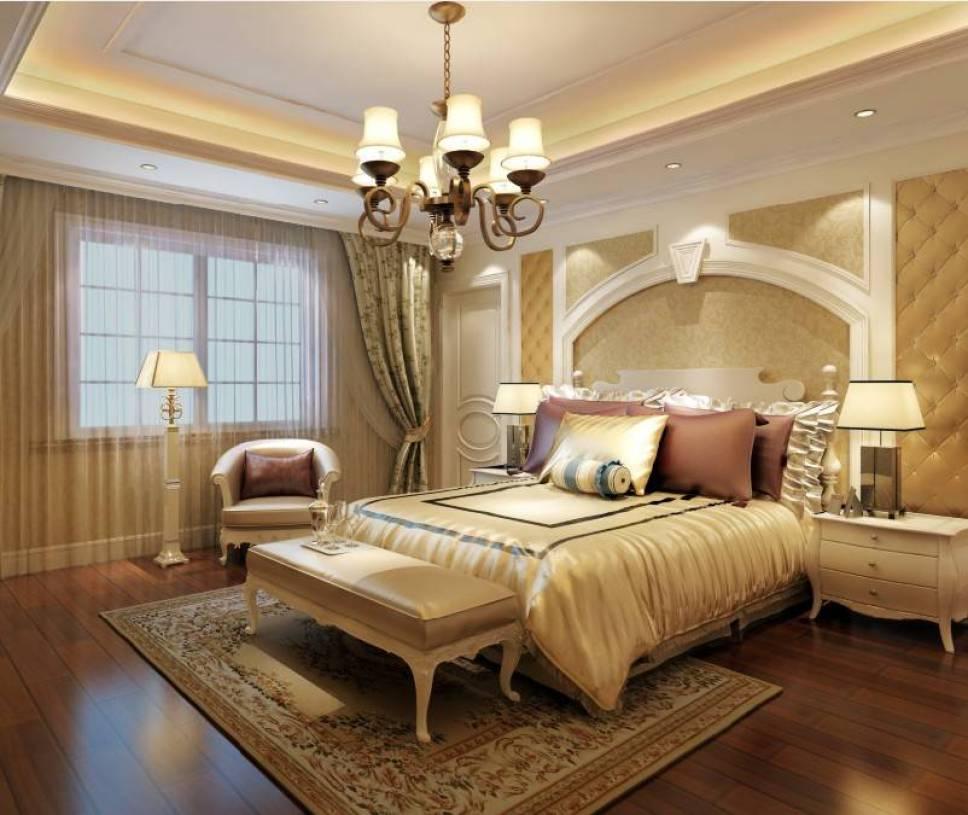 欧式风格别墅卧室吊顶装修效果图,欧式风格床尾凳图片