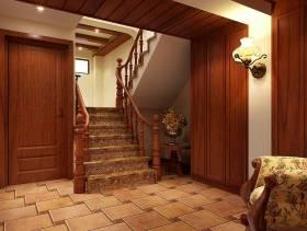 204㎡复式楼美式风格过道楼梯装修效果图-美式风格壁灯图片