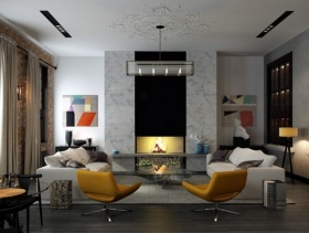 现代简约风格客厅背景墙装修效果图-现代简约风格茶几图片