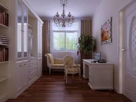 139平欧式风格三居书房窗帘装修效果图,欧式风格柞木欧式书柜图片