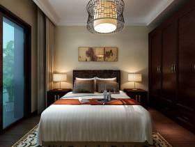 260㎡别墅新中式风格卧室背景墙装修效果图-新中式风格实木衣柜图片