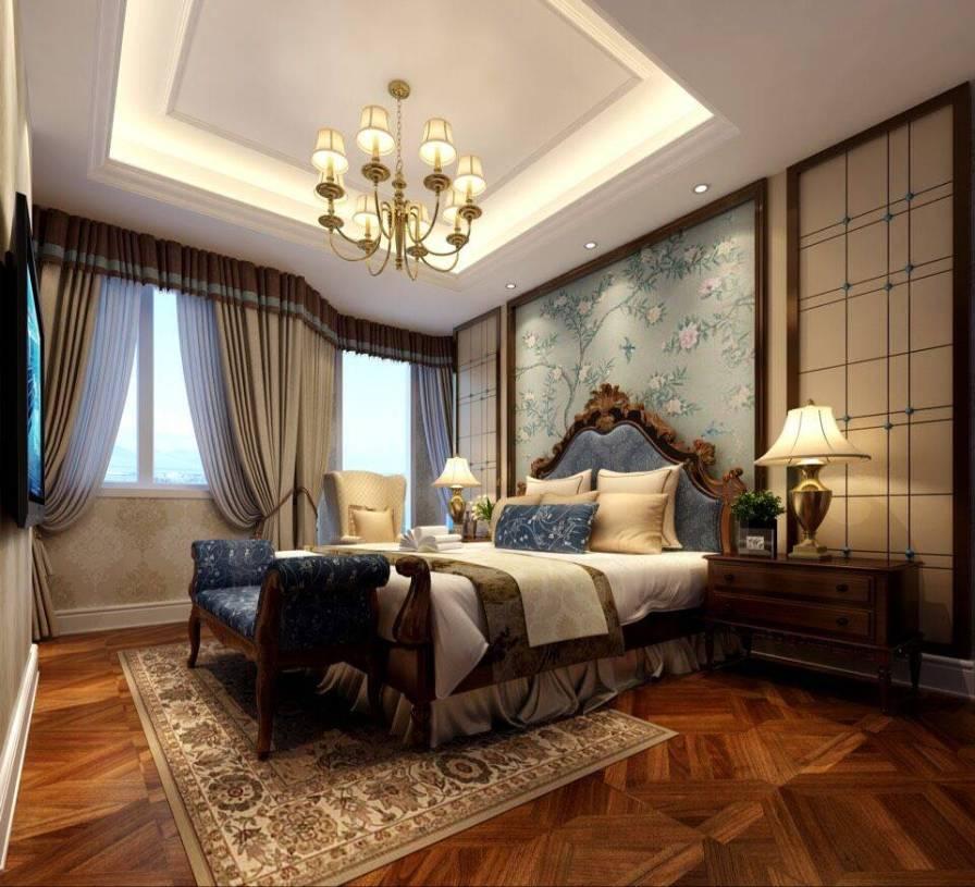 美式风格卧室床头背景墙装修效果图