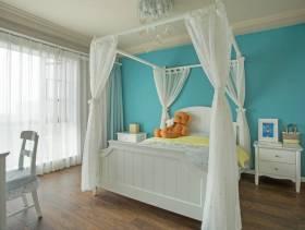蓝色卧室背景墙纸装修图片