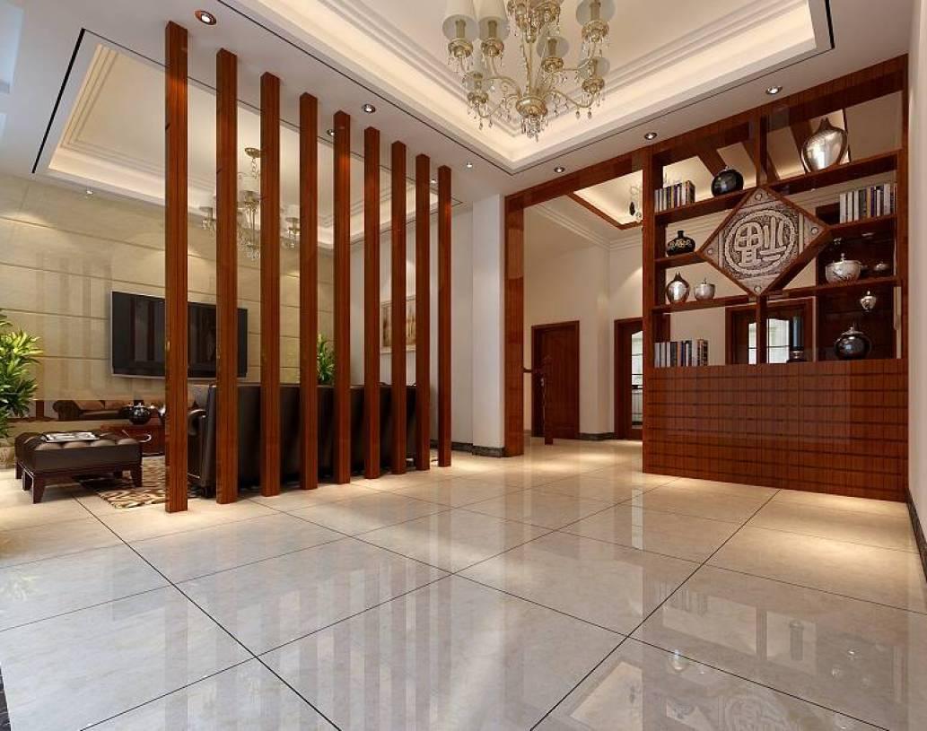 新中式风格客厅餐厅隔断装修效果图图片