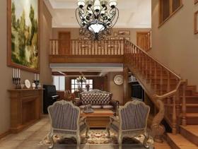 欧式风格复式楼客厅背景墙装修效果图-欧式风格沙发椅图片