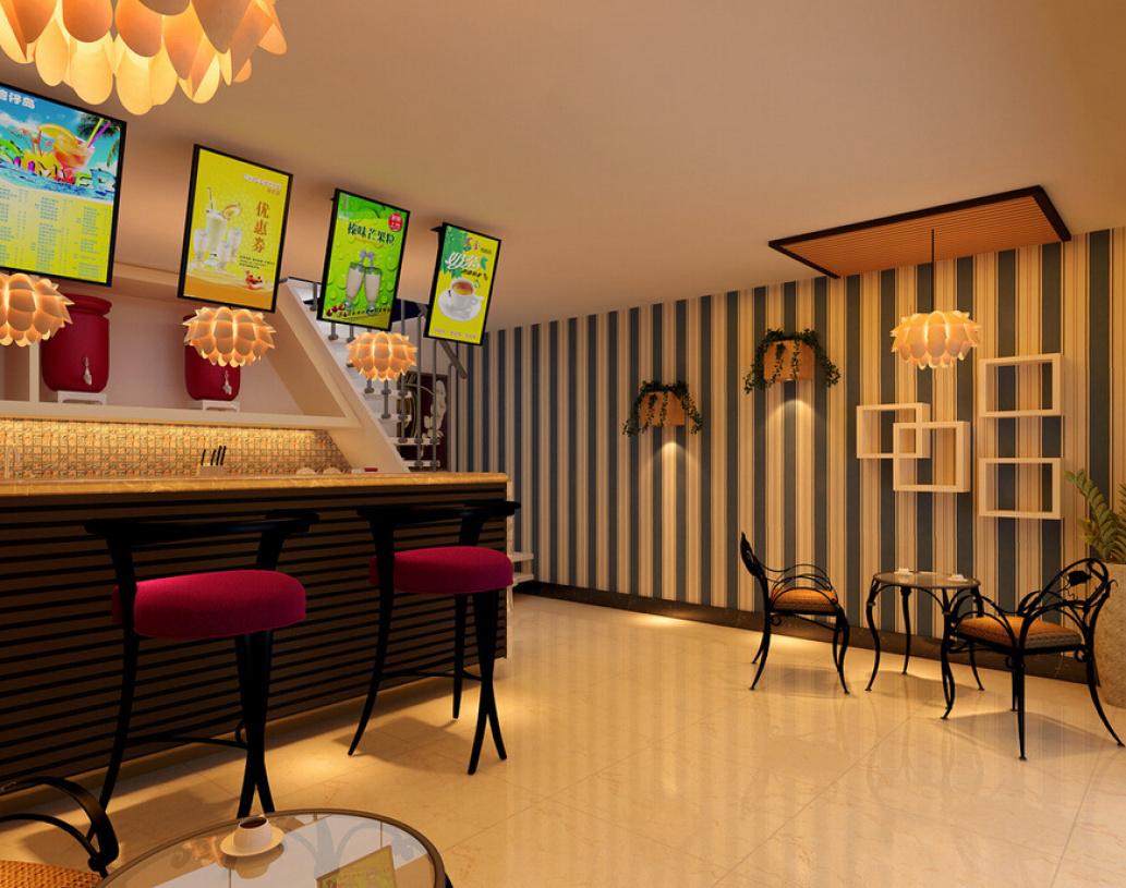 简约风格奶茶店装修效果图-简约风格吧台椅图片