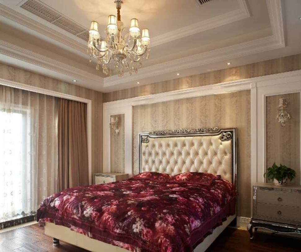 简约欧式风格卧室石膏板吊顶装修效果图-简约欧式风格