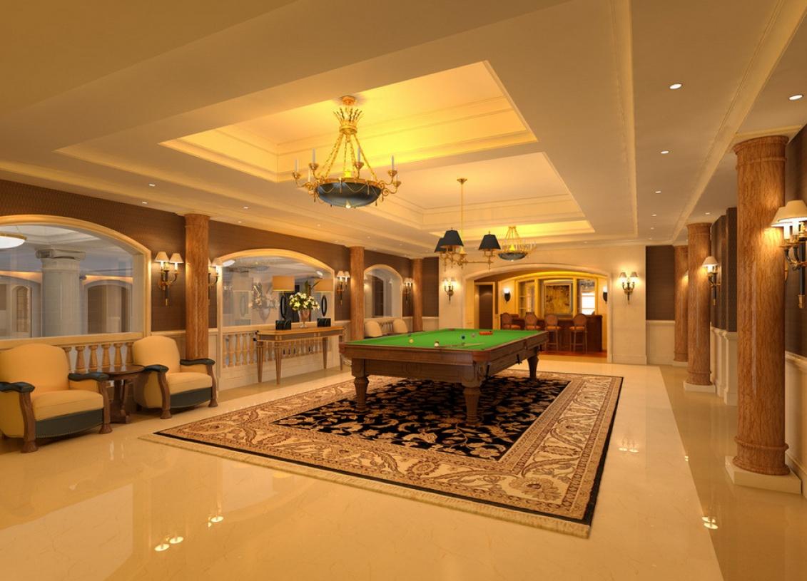欧式风格台球厅吊顶装修效果图-欧式风格壁灯图片图片