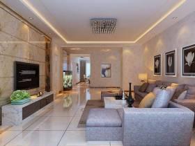160㎡三居室现代风格客厅电视背景墙装修效果图-现代风格电视柜图片