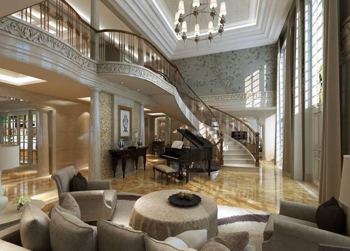 欧式别墅客厅楼梯效果图-兔狗装修效果图