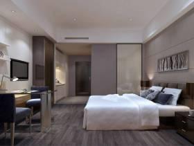 单身公寓现代风格卧室背景墙装修效果图,单身公寓现代风格黑色床头柜图片