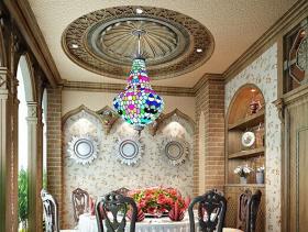 美式风格餐厅吊顶装修效果图-美式风格吊灯图片
