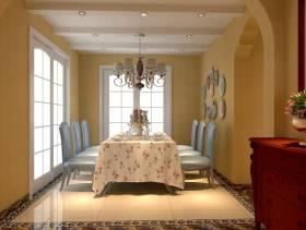 110㎡三居室简欧风格餐厅吊顶装修效果图-简欧风格厨房门图片