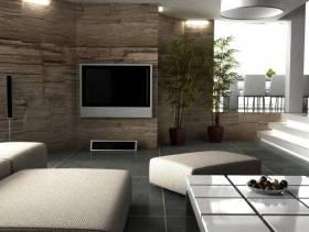 自然舒适的客厅电视背景墙装修图片