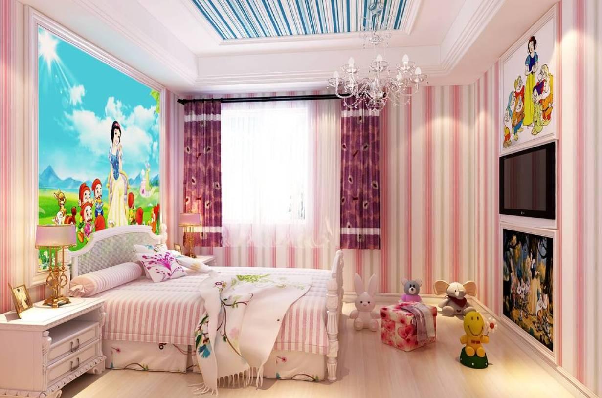 简欧风格粉色儿童房装修效果图