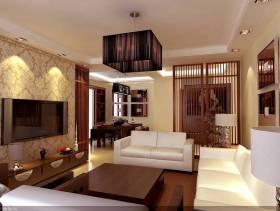 中式风格三居室客厅电视背景墙效果图,中式风格吊顶图片
