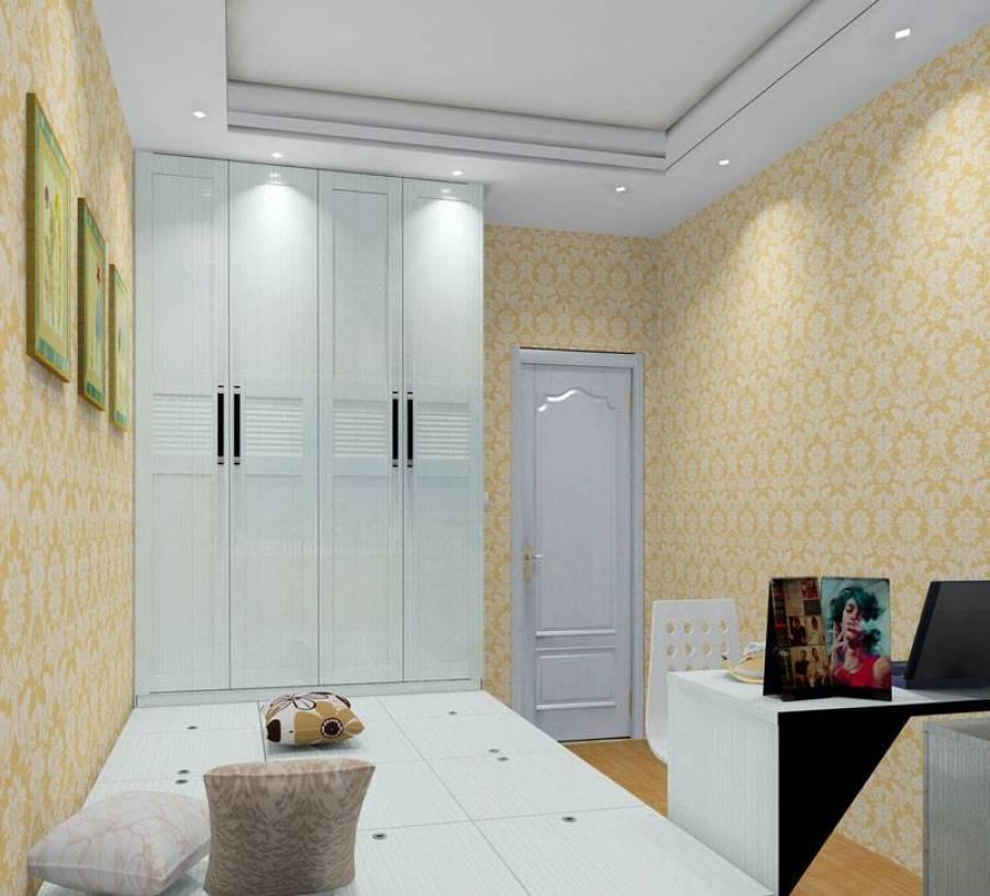 现代风格卧室榻榻米地台装修效果图-现代风格衣柜图片