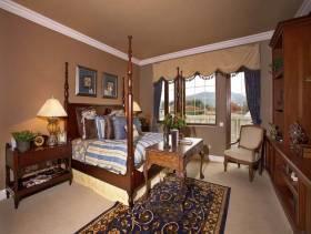 美式乡村风格卧室背景墙装修效果图-美式乡村风格双人床图片