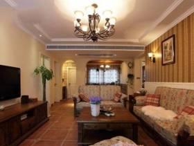 100平米别墅田园风格客厅沙发背景墙装修图片-田园风格沙发图片