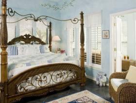 简约风格女生卧室壁纸装修图片-简约风格藤艺床图片