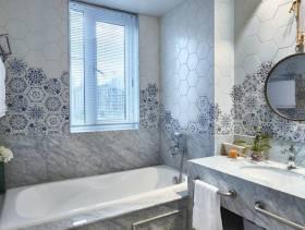 小型卫生间拼花墙面瓷砖背景墙装修图片