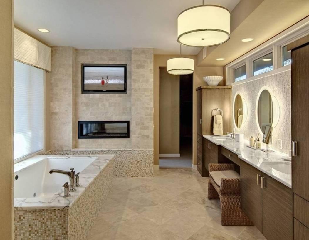 田园风格四居室浴室吊顶装修效果图-田园风格浴缸图片