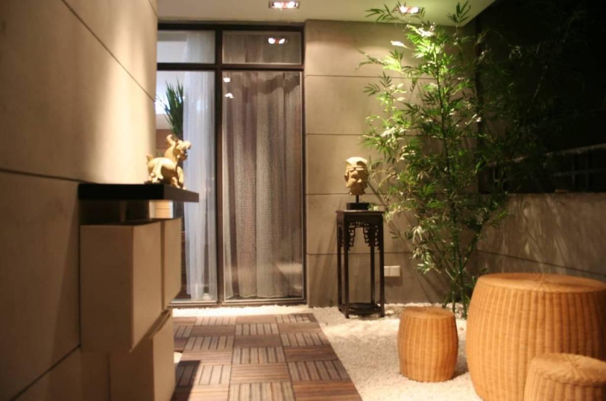 239m别墅新中式风格阳台装修图片-新中式风格圆凳图片图片