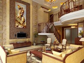 欧式风格复式楼客厅电视背景墙装修效果图-欧式风格电视柜图片