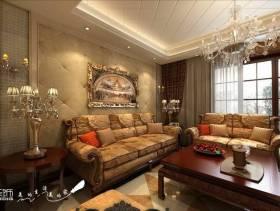 150平大户型欧式风格客厅沙发背景墙装修图片,欧式风格楠木茶几图片