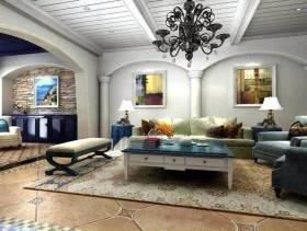 地中海客厅弧形沙发背景墙设计