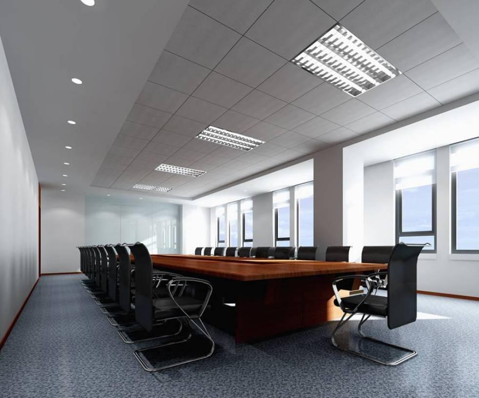 现代风格会议室吊顶装修效果图-现代风格办公桌图片