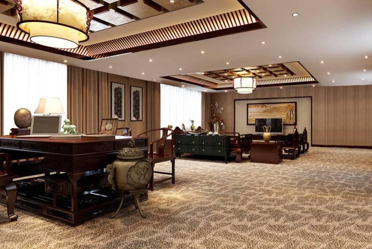 中式风格总裁办公室装修效果,中式吊顶桌椅图片