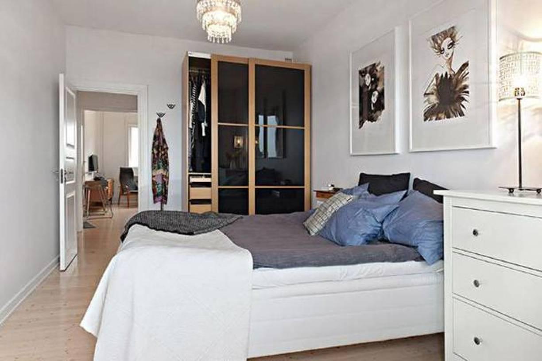 50平米单身公寓宜家一室一厅卧室背景墙装修图片,单身