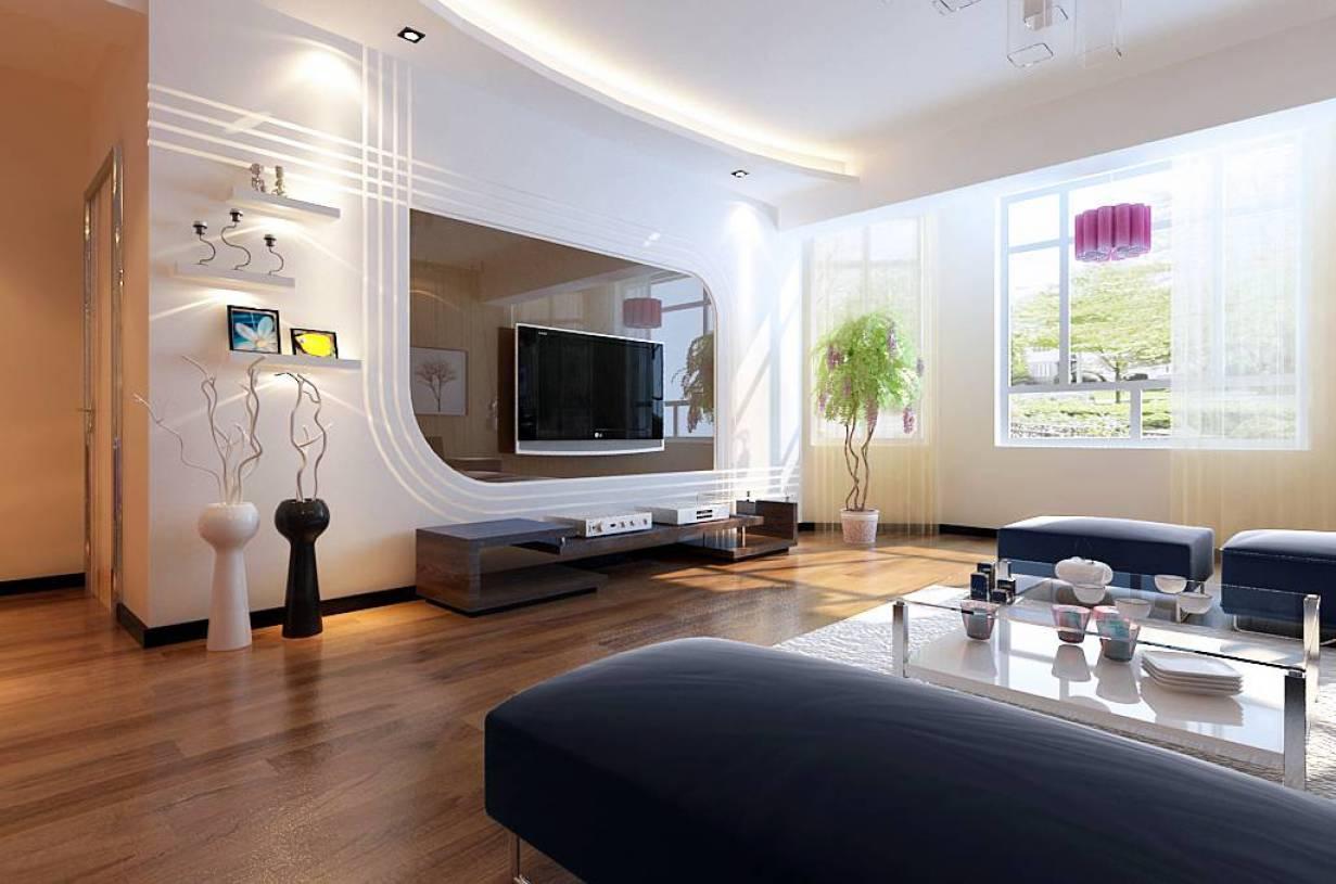 140m三室两厅两卫现代风格客厅电视背景墙装修效果图-现代风格电视柜