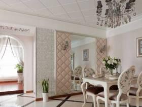 100㎡别墅田园风格餐厅背景墙装修效果图-田园风格餐桌椅图片