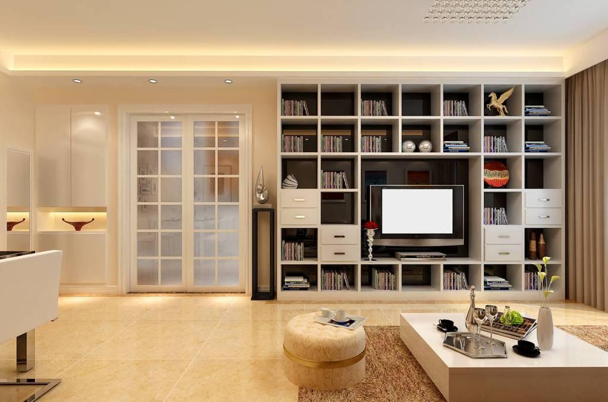 现代风格二居室客厅电视背景墙装修效果图,现代风格书柜图片