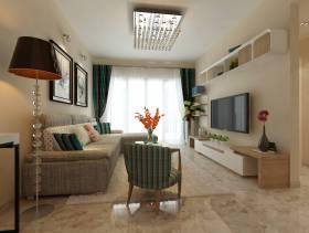 三居客厅浅色电视背景墙装修效果图