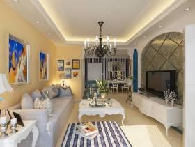 136㎡三居简约欧式风格客厅电视背景墙装修效果图-简约欧式风格沙发图片