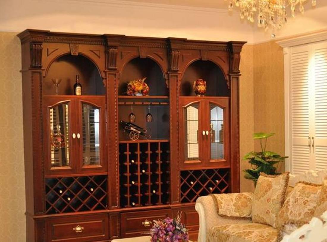80m二居室美式风格酒柜装修效果图