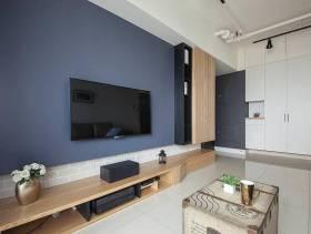简单的客厅藏蓝色电视墙设计