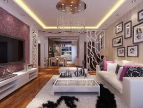 120平米现代风格客厅电视背景墙装修效果图,现代风格白色电视柜图片