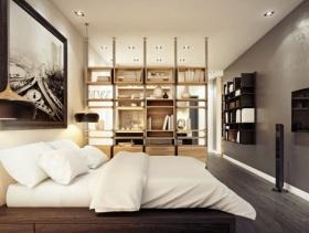 简约风格卧室背景墙装修效果图-简约风格床图片