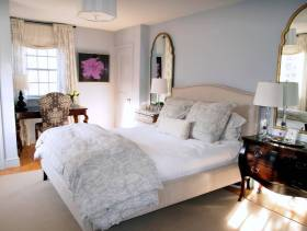 简约欧式风格女生卧室壁纸装修图片-简约欧式风格双人床图片