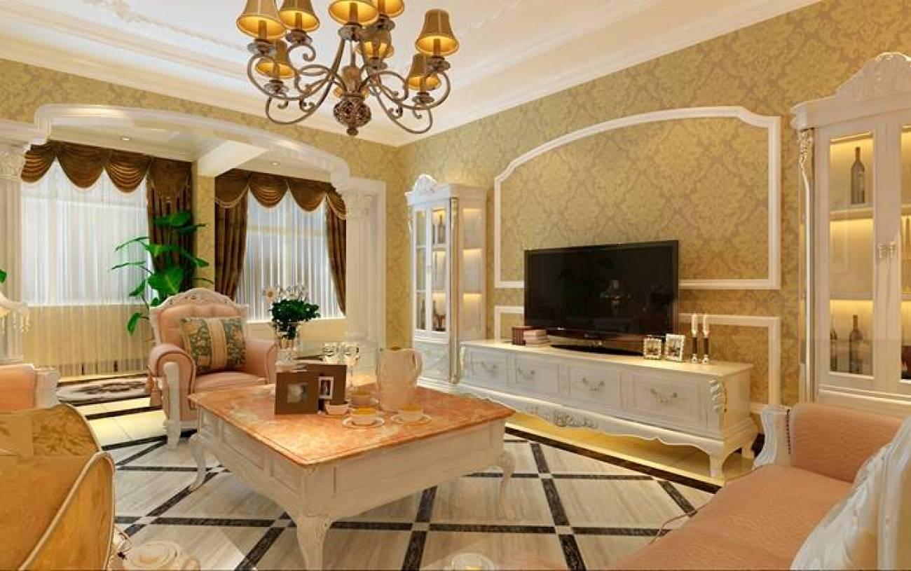210㎡复式楼欧式风格客厅电视背景墙装修效果图-欧式风格欧式电视柜