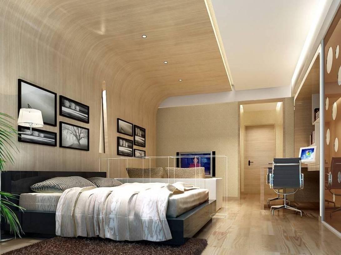 现代风格复式公寓卧室照片墙装修效果图