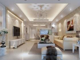 101㎡三居室简约欧式风格客厅吊顶装修效果图-简约欧式风格电视柜图片