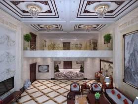 中式别墅客厅整体效果图