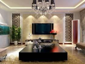 180㎡大户型简欧风格客厅电视背景墙装修效果图-简欧风格电视柜图片