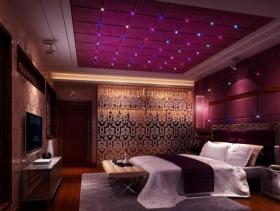 现代简约风格卧室背景墙装修效果图-现代简约风格床图片