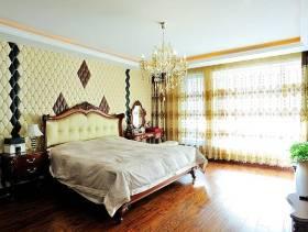 美式风格卧室背景墙装修图片-美式风格实木床图片